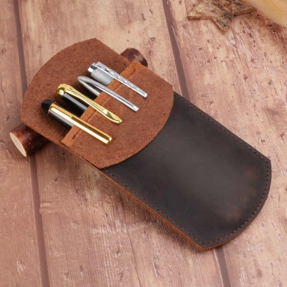 New Arrivals Genuine Leather Pencil Case Handmade Creative Pen Bag Storage Pouch Vintage School Stationary Products