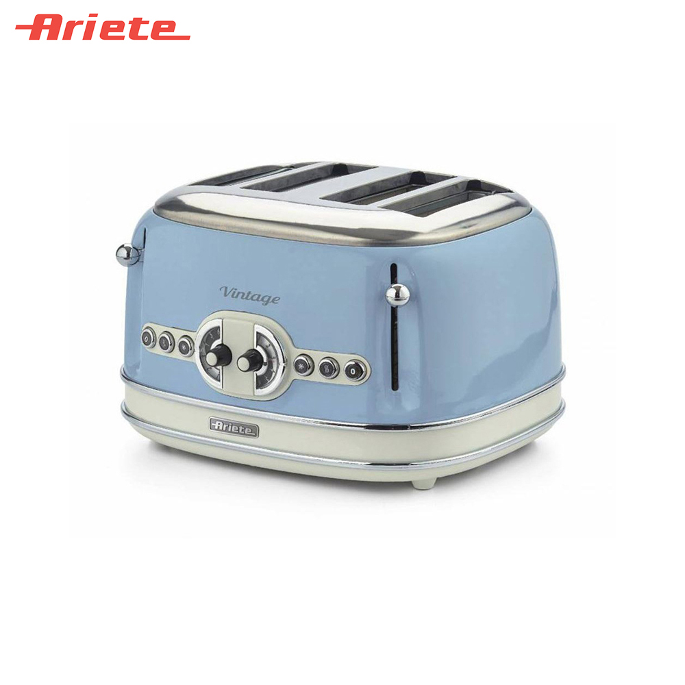 Toasters Ariete 8003705114951 Household Automatic Bread Toaster Baking Breakfast Machine Stainless steel 4 Slices Bread Maker