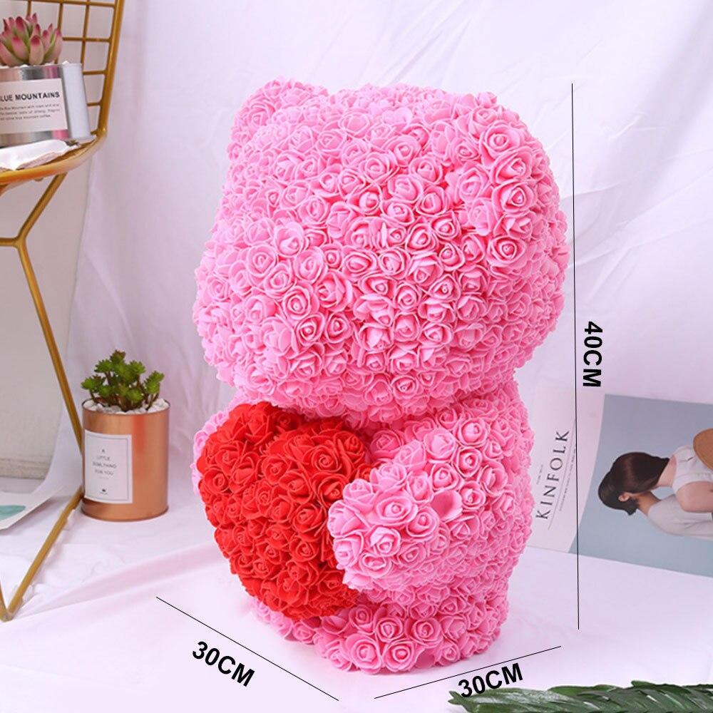 Горячая Распродажа 40 см розовый медведь искусственные цветы для дома свадебный фестиваль DIY украшение для свадьбы подарок коробка венок своими руками подарок на день Святого Валентина
