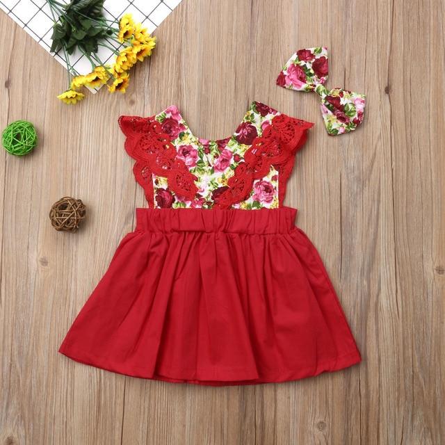 2018 Multitrust Brand Toddler Baby Little Big Sister Matching Girl Floral Romper Party Dresses Christmas Summer Red Sunsuit