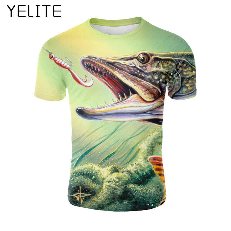 082cd5bc3 YELITE 2019 New tshirt Mens Big Fish Summer Tops 3D Printed streetwear Man  Tee Shirts T
