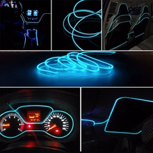 2m Car Party Ice Blue Neon Light Glow EL Wire Rope Tape Cable Strip LED Auto Flexible Atmosphere Decor Ribbon Interior Lamp Line top selling el cable rope explorer design clothes led strip neon light stylish luminous costume for carnival new years day decor