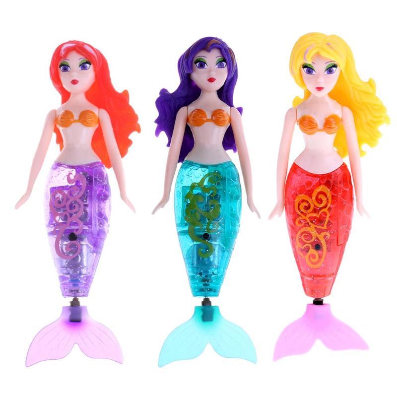 Electronic Mermaid Swimming Dolls Kids Fish Tail Toy Moter Powder Water Colorful Wig Mermaid Children Electronic Pet Toys