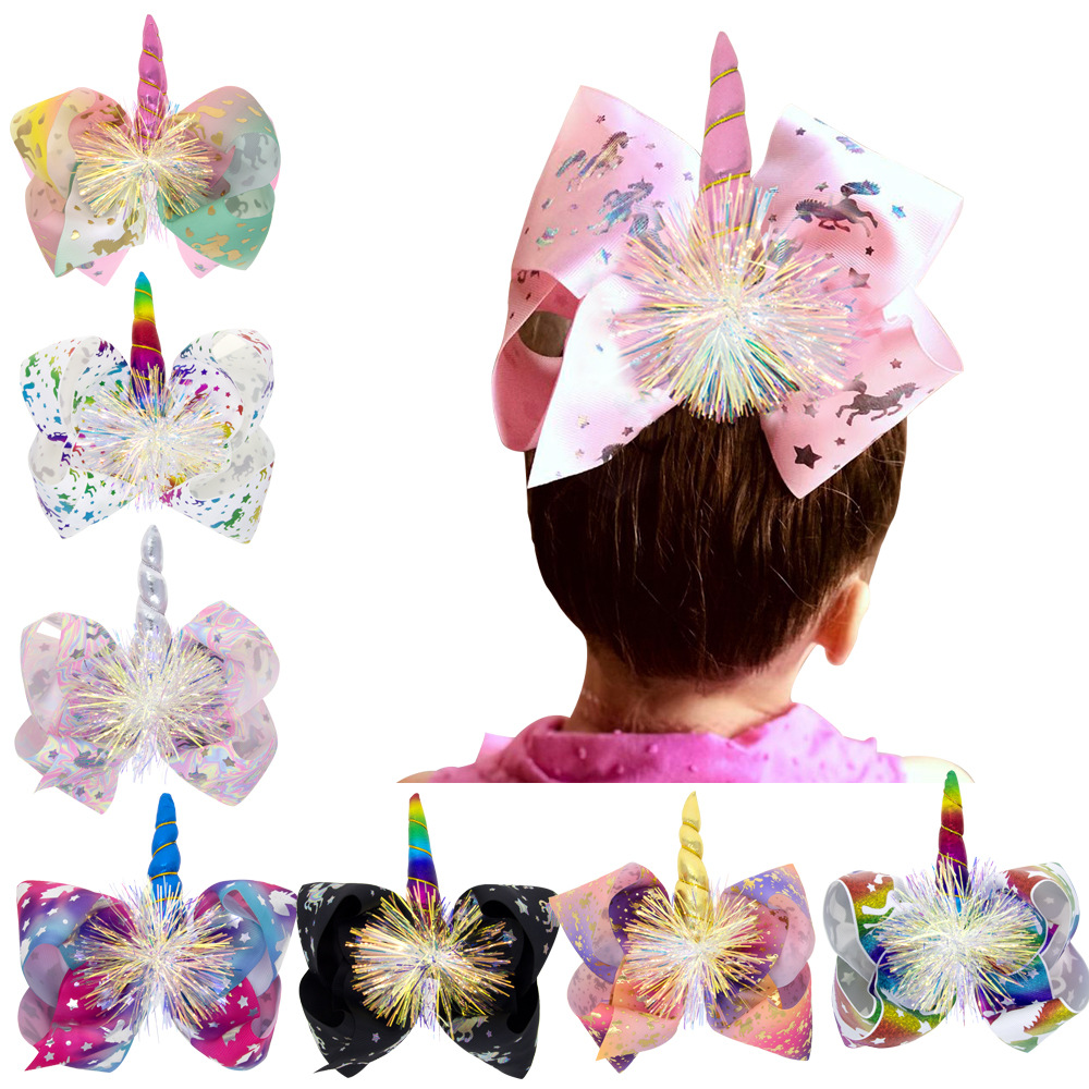JoJO Siwa Bows Handmade Rainbow Stars Love Unicorn Large With 8inch Ribbon Hair Bow For KidsHairgrip Hairpins Hair Accessories