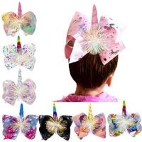 JoJO Siwa lazos hecho a mano Arco Iris estrellas amor unicornio grande con lazo de pelo de 8 pulgadas para broches de pelo para Niños Accesorios para el cabello