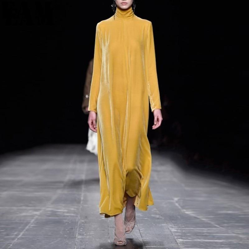 [EAM] 2019 Spring  Summer Woman Stylish New Listing Solid Color Turtleneck Long Sleeve Draped Long Loose Velvet Dress LD792