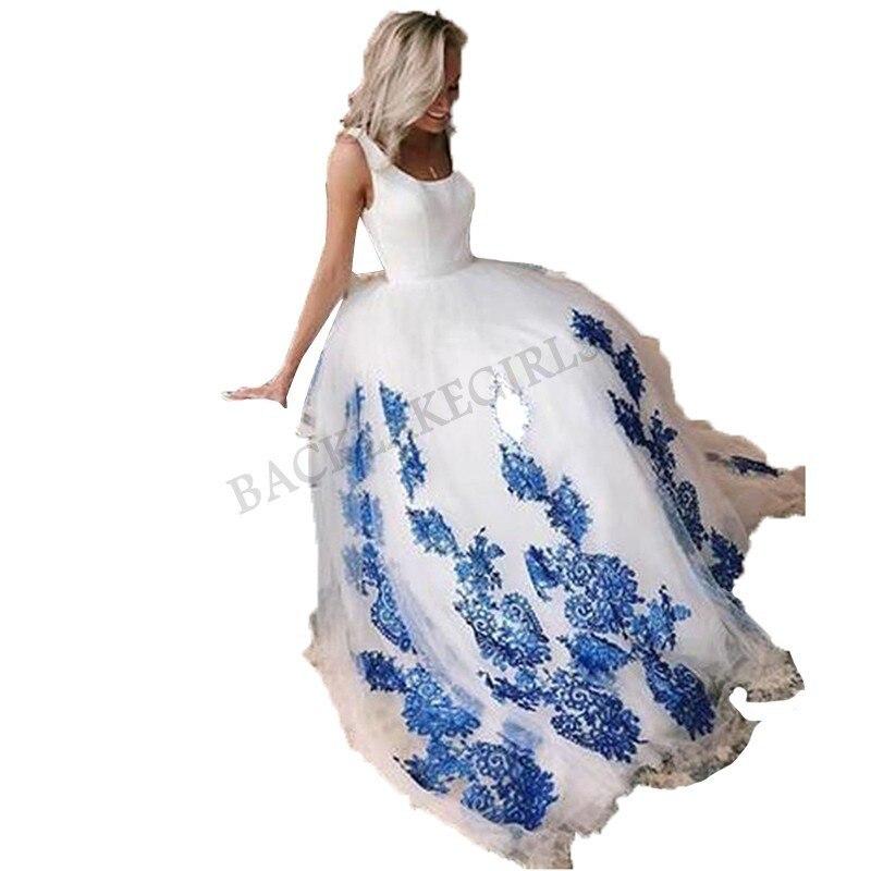 Grande taille robe De mariée blanche Scoop dentelle bleue Appliques à lacets mariage princesse robes De bal Vestido De Noiva romantique