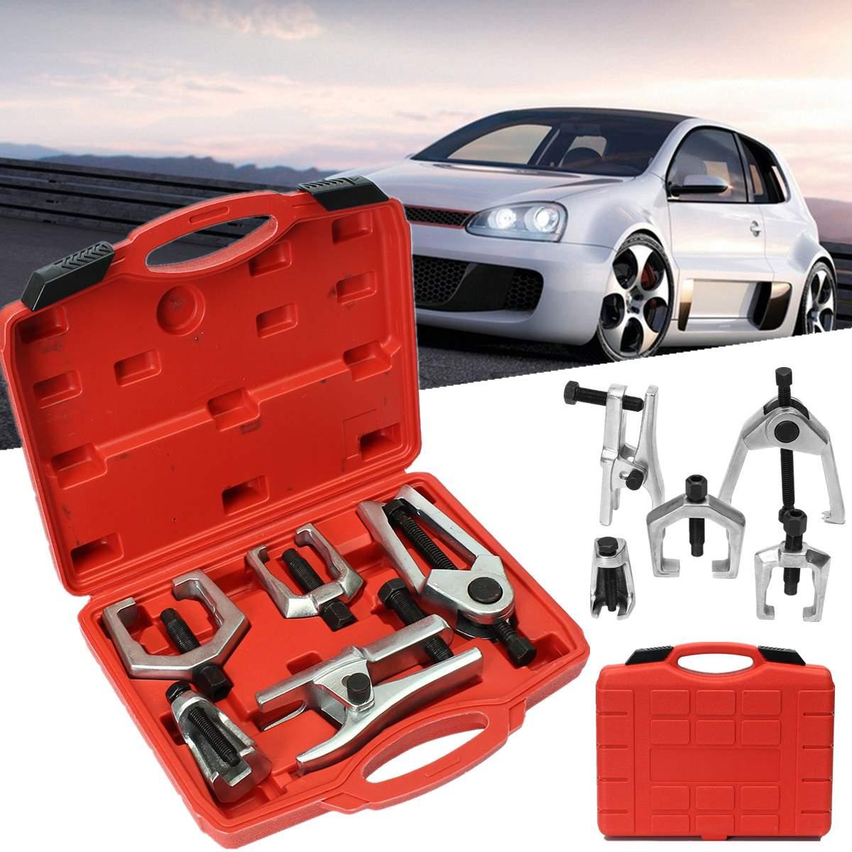цена на Front End Service Tool Kit 5 in 1 Removers Press Type Ball Joint Tie Rod Pitman Arm Puller Ball Joint Separator Car Repair Tools