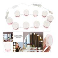 LED White Home Manual Mirror Brightness Bulbs USB Bulb Hidden Adjustable Set Brightness 10 Charging Wiring Makeup 7000k