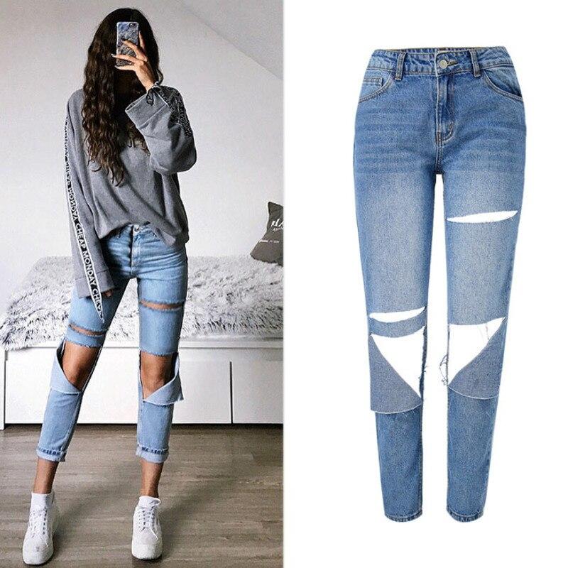 Women High Waist Denim   Jeans   Distressed Boyfriend Cotton Pants Fashion Female Loose Ripped   Jeans   Denim Blue Pants Plus Size