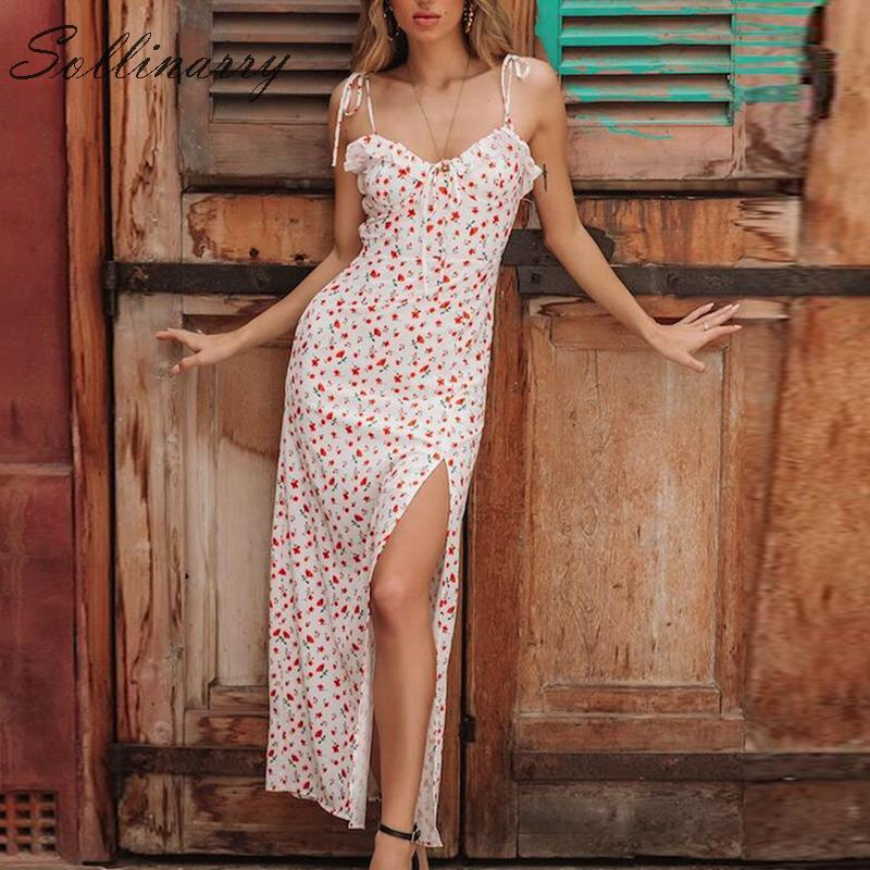 Sollinarry Vintage Sexy Female Maxi Dress Summer Elegant High Split Floral Long Dresses Women 2019 Casual Party Dress Vestiods