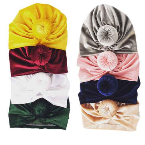 יילוד פעוטות ילדים בייבי בנות הודי טורבן קשר כפת כובע החורף חם כובע ילדה תינוק קטיפה גולגולת בימס כובע כובעים