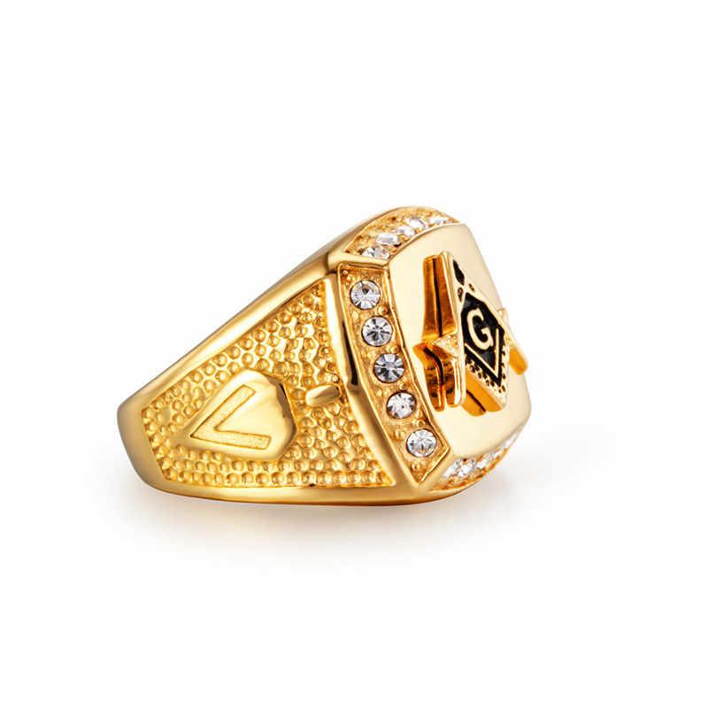 Masonic แหวนสแตนเลสผู้ชายเครื่องประดับแหวนคริสตัลผู้ชายแหวนหมั้นแหวนหญิงสัญญา RIN