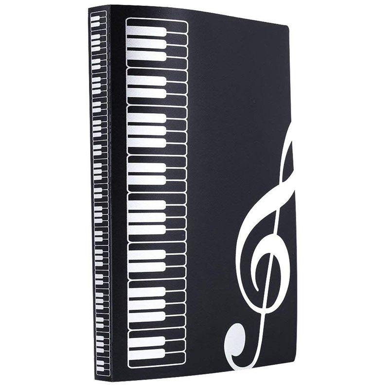 Музыкальный лист файл бумаги документов хранения Папка Держатель ПВХ. A4 размер, 40 карманов(черный