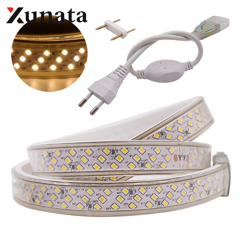 220V 2835 LED Strip Three Row 276 LEDs/m Waterproof Flexible Tape LED Light Lamp Kitchen Decoration With EU Plug 1m 2m 5m 100m