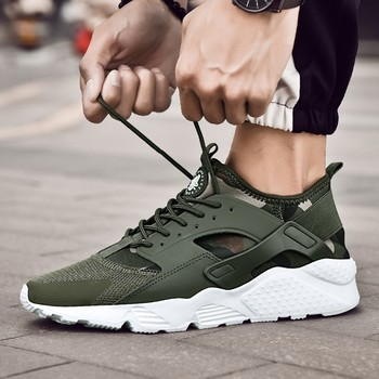 Spring/Winter Air Mesh Comfortable Army Green Male Shoes