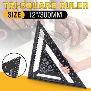 "Image 1 - 30センチメートルアルミセット直角定規12 ""分度器垂木角フレーム測定大工測定木工三角形のルール"