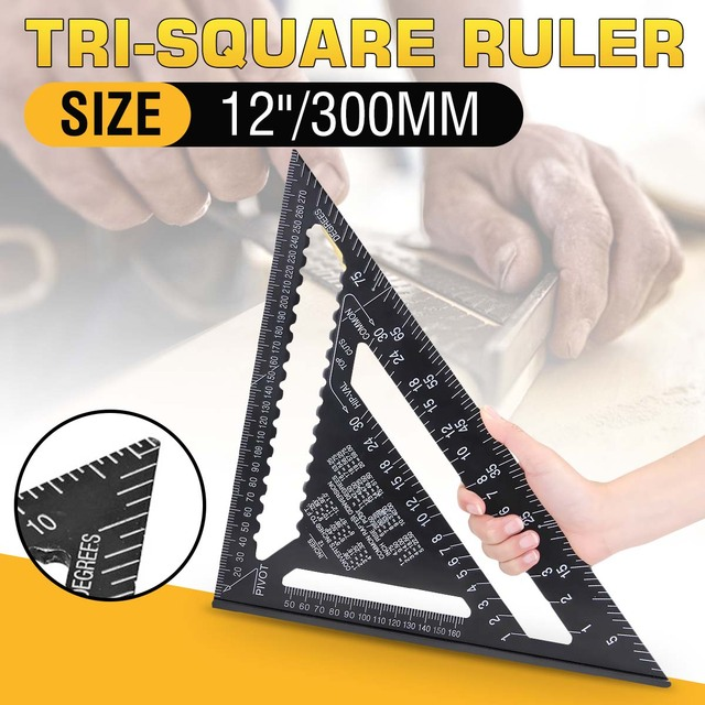 """30センチメートルアルミセット直角定規12 """"分度器垂木角フレーム測定大工測定木工三角形のルール"""