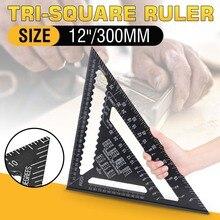 """30cm de aluminio Set cuadrado Regla 12 """"transportadores Rafter ángulo marco de medición de carpintero de madera Triangular regla"""