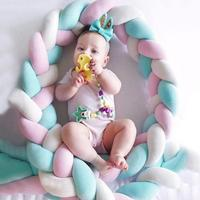 250cm Baby Bed Bumper Four Ply Knot Handmade Long Knotted Braid Weaving Plush Baby Crib Protector Infant Knot Pillow Room Decor