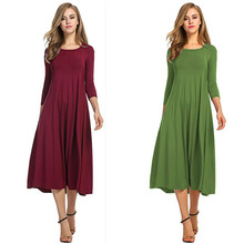 2019 Round Neck Long Sleeve Solid Color Pregnancy Dress 12 Colors Available mid-calf S/M/L/XL/2XL/3XL Premama Clothes Maternity