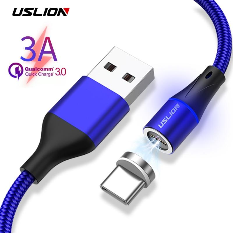 Analytisch Uslion Qc3.0 Snelle Opladen Magnetische Kabel Micro Usb Voor Iphone Voor Samsung Magneet Charger Usb Type C 1 M 3a Telefoon Datakabel Draad Nieuw (In) Ontwerp;