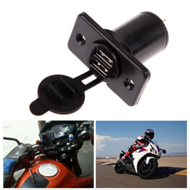Encendedor de coche divisor de enchufe doble cargador USB toma de corriente a prueba de agua 3,1 amp Panel de montaje motocicleta cargador de coche