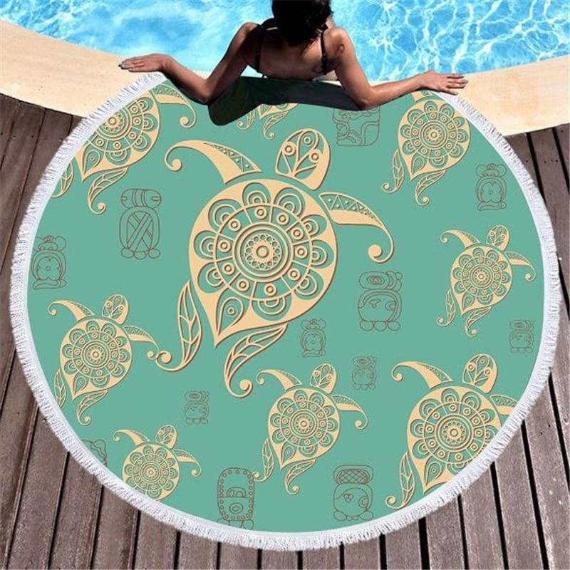 ①  Тропическая бирюзовая морская черепаха 150см большое круглое пляжное полотенце из микрофибры Толстые ①