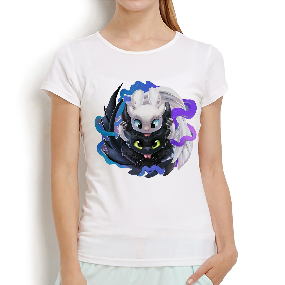 How To Train Your Dragon Funny Anime Tshirt Women 2019 Summer New White Casual T Shirt Toothless And Light Fury T-shirts Femme