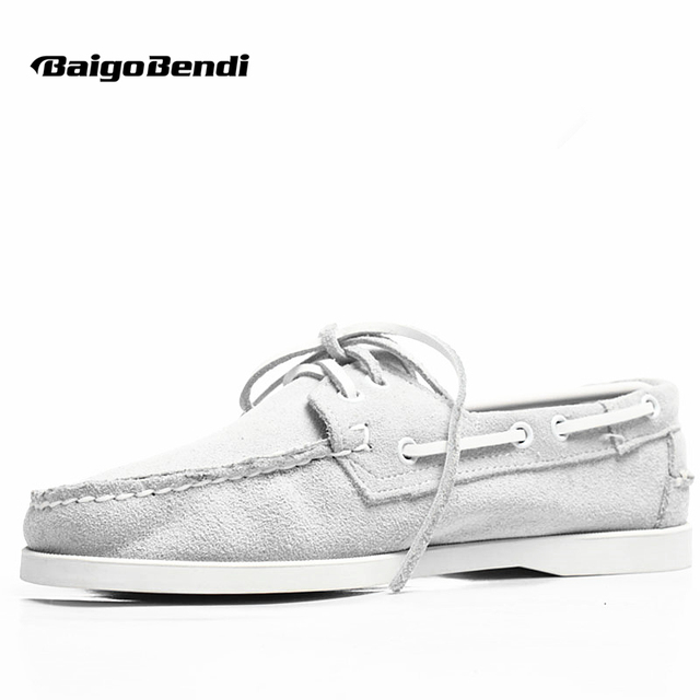 Big Size 11 12 Classical Pure White Boat Shoes Men Real Leather Casual Loafers Man Four Season Breathable Car Shoes