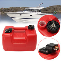 12L Boat Yacht Engine Marine Outboard Fuel Tank Oil Box Portable With Connector Red Plastic Anti static Corrosion resistant