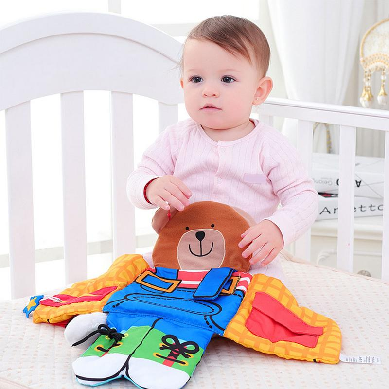 Bear Wear Cloth Button Zipper Book Soft Cloth Baby Learning&Education Book Fabric Book Infant Early Education Cloth Books