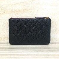 Luxury zipper coin purse women calfskin genuine leather Wallets designer top quality soft feminina brand caviar small wallet