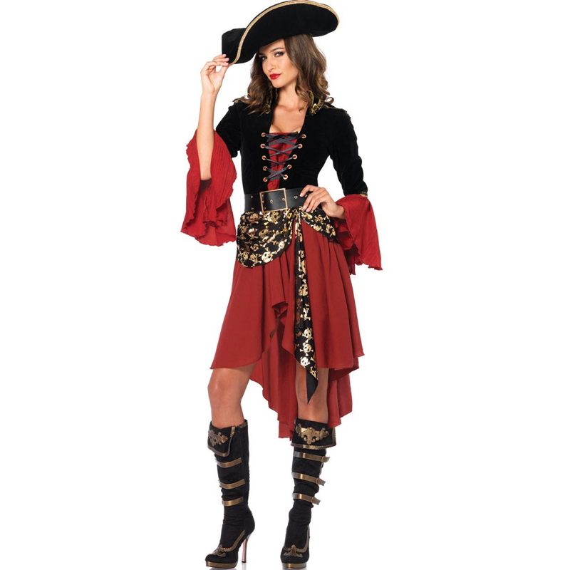 Hot Hot Sale Adult Female Cruel Seas Captain Buccaneer Pirate Cosplay Costume Women's Sexy Halloween Fancy Dress Clothing