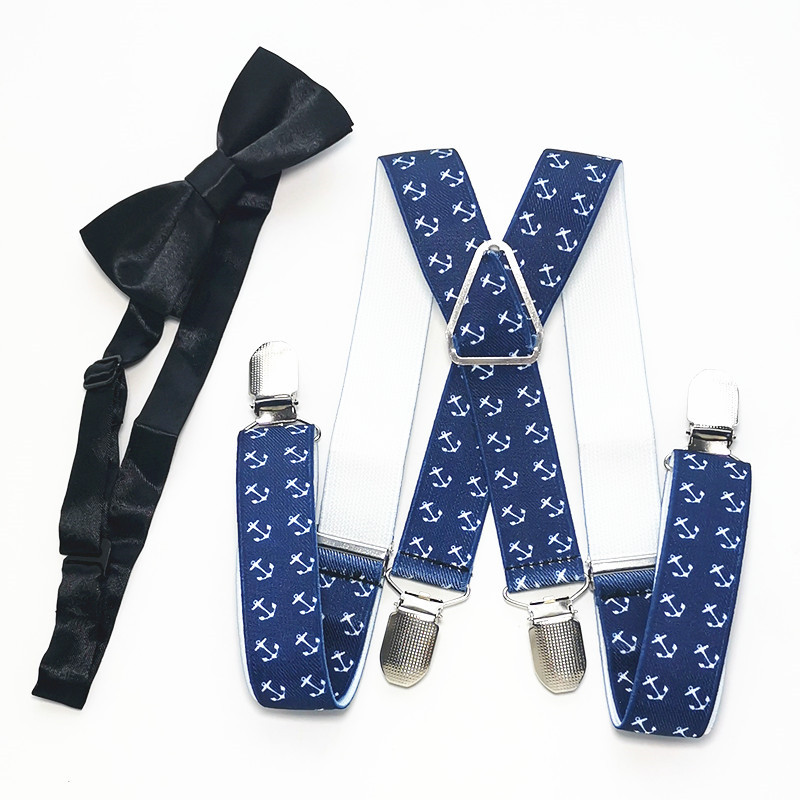 Kids Anchor Print Suspenders Bow Tie Sets Boys Girls X-back Suspender Butterfly Neck Tie Set Children Accessories LB020