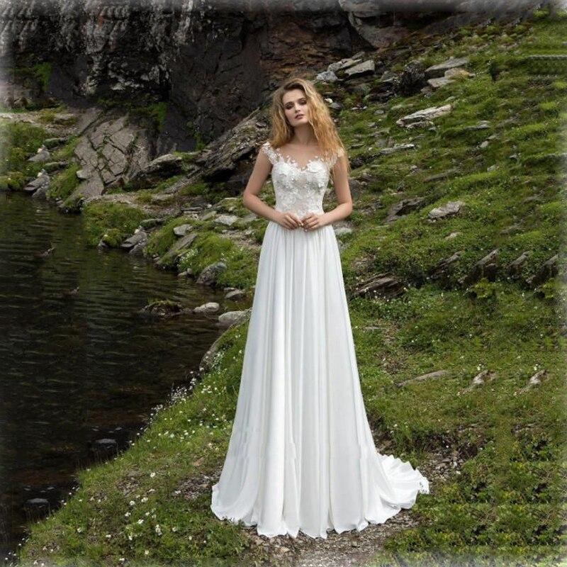 lorie White Chiffon Beach Wedding Dresses 2019 Sheer Neck Sweep Train Appliques Plus Size Bridal Dress Custom Cap Sleeves Dress in Wedding Dresses from Weddings Events