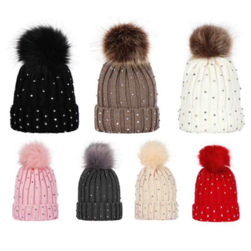 Newborn Baby hat POM POM winter cable knit knitted boy girl Warm Crochet Bobble