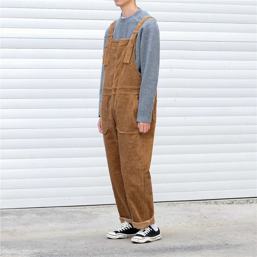 Autumn Men Wide Leg Corduroy Jumpsuits Male Loose Rompers Hip Hop Streetwear Suspender Corduroy Pants Winter Overalls DXR05