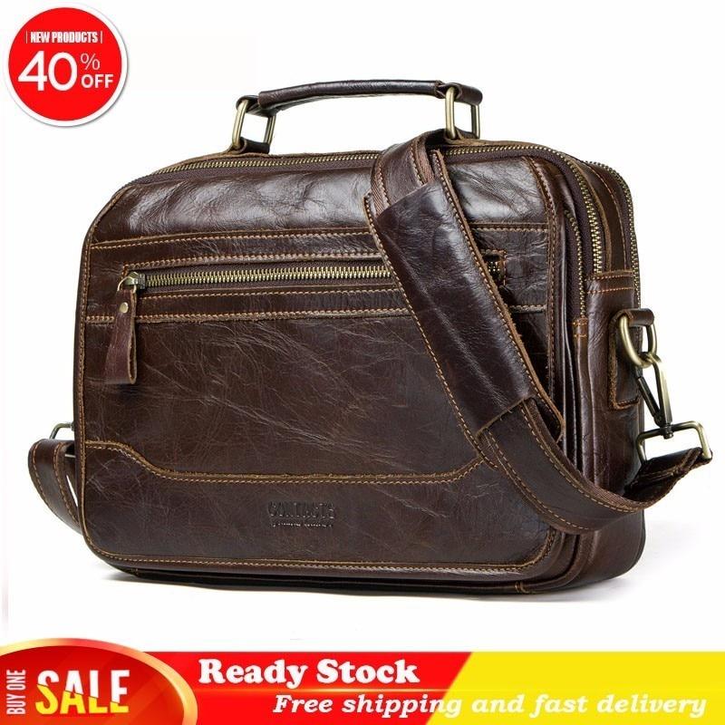 Luxury Brand Genuine Messenger Bag Men Leather Man Single Shoulder Package Head Layer Cowhide Oblique Wind Satchel Briefcase Hot