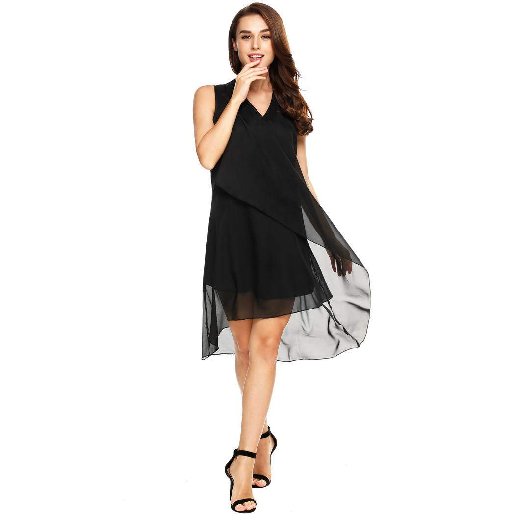 AL'OFA   Cocktail     Dress   Women Party Solid V Neck Pullover Ruffle Front Chiffon A-Line Tank High Low Party Gown Homecoming   Dresses