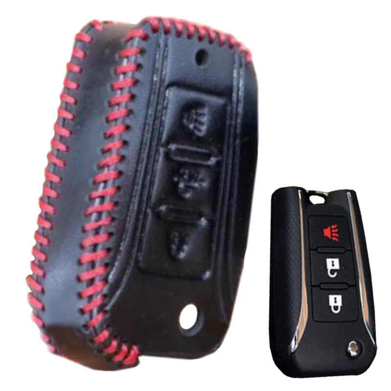 Cuir véritable cuir de vache 3 boutons impression étui noir support pour NISSAN voiture clé étui étui mode voiture clé protéger