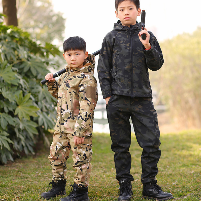 TAD Tactical Shark Skin Children Softshell Jacket Pants Kids Sport Camping Hiking Camouflage Suits Outwear Waterproof Set A9289