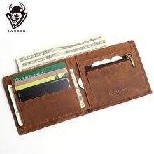 2019 New Crazy Horse Leather Men Wallets Vintage Genuine Leather Wallet For Men Cowboy Top Leather Thin To Put