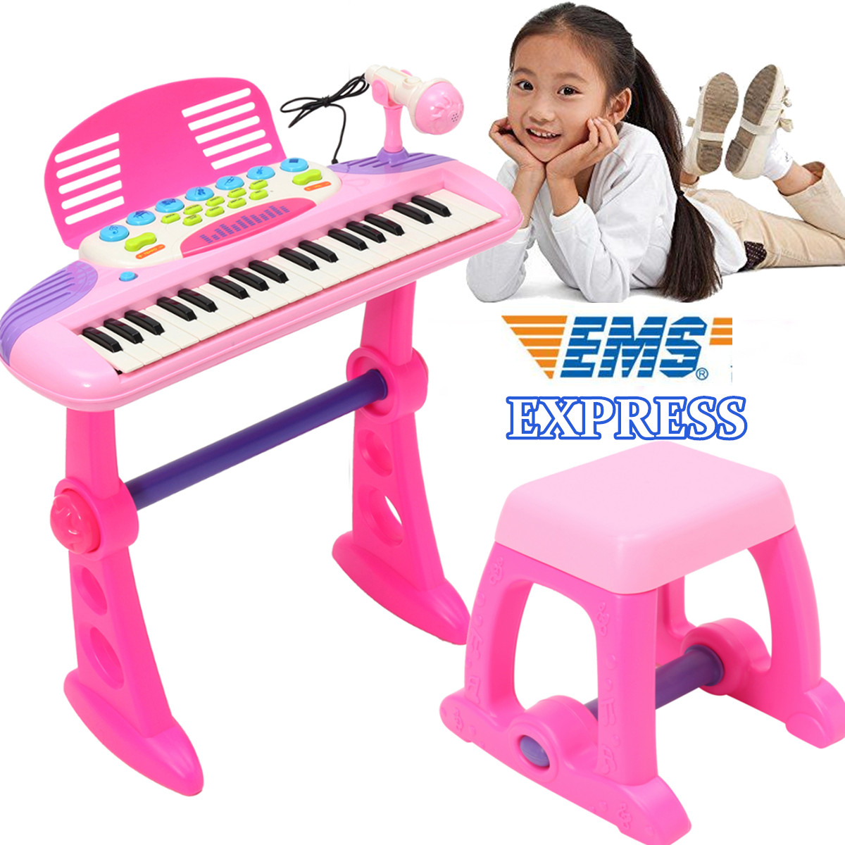 все цены на Pink 37 Key Kids Electronic Keyboard Piano Organ Electone Toy Children Musical Educational Instrument with Microphone Stool Gift