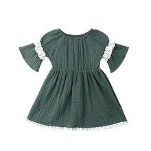 Vestido para niñas pequeñas recién nacidas vestido Vintage con volantes de encaje verde vestido de fiesta y vacaciones para niñas bebés de media manga Disfraces para Niñas