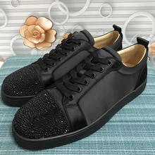 c19a657c9f0 cl andgz Black Velvet Lace up Rhinestone Diamond Rivets Low Cut Red bottoms  Shoes For Man Flat Sneakers Leather Loafer Footwear