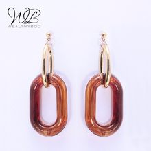 WEALTHYBOO New 2019 ZA Resin Pendant Earrings Ladies Jewelry Irregular Decorative Pendant Earrings Popular Style(China)