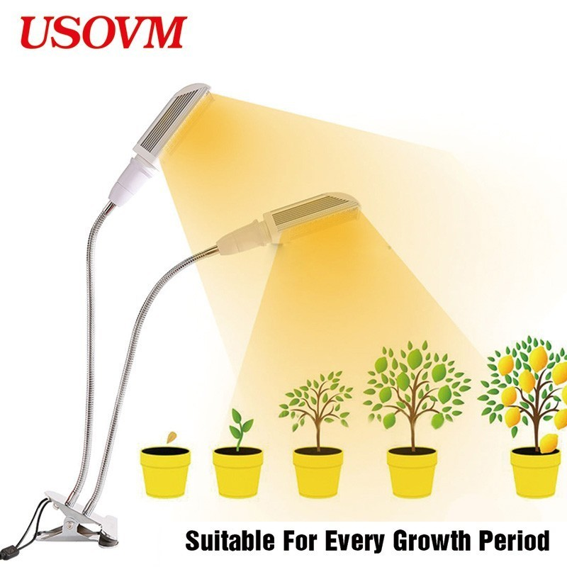 45W Led Grow Lights Clip Lamp Dual Head Full Spectrum Cultivo Indoor Timing Growing Light For Plants Flower Seedling Gardening45W Led Grow Lights Clip Lamp Dual Head Full Spectrum Cultivo Indoor Timing Growing Light For Plants Flower Seedling Gardening