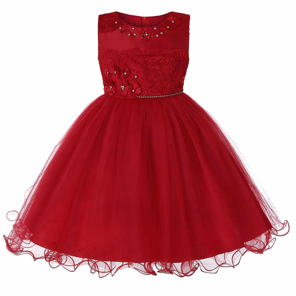 d8c02feaef Summer Kids Girls Communion Dresses Elegant Party Child Girl Pageant Sleeveless  Wedding Party Princess Dress White