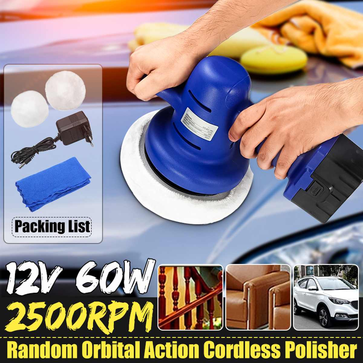 waxing machine with 12V lithium battery portable cordless car polisher cleaner polish machine For Car Trucks